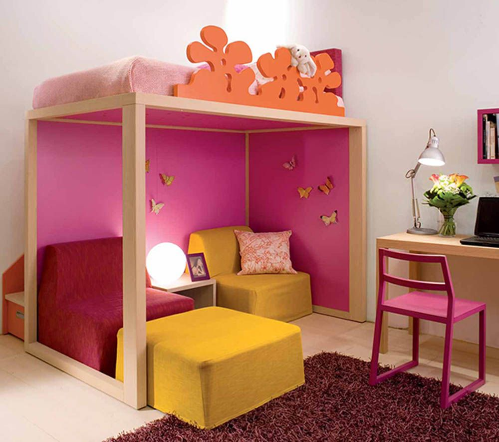 Nice Kids Bedroom Decor With Wooden Loft Bed Red Fur Rug