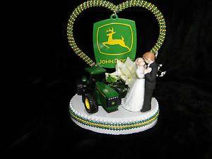 NEW JOHN DEERE WEDDING CAKE TOPPER WITH WEDDING COUPLE & PEARL ...