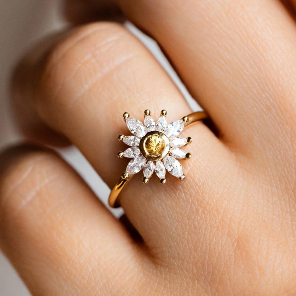 Hazy Daydream Sapphire Sunflower Ring Sunflower ring