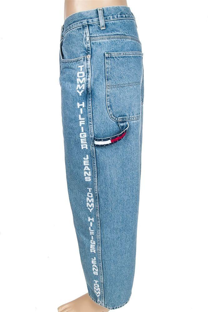 Vtg Tommy Hilfiger Jeans Denim Carpenter Men 32x32 Hip Hop