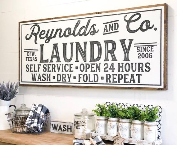 Photo of Laundry Room Sign, Laundry Sign, Laundry Room Decor, Vintage Laundry Sign, Farmhouse Laundry Sign, Personalized Laundry Sign, Custom Sign