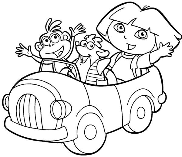 Dora And Friends Ride Cars Coloring Pages | RA Floor Dec Ideas ...