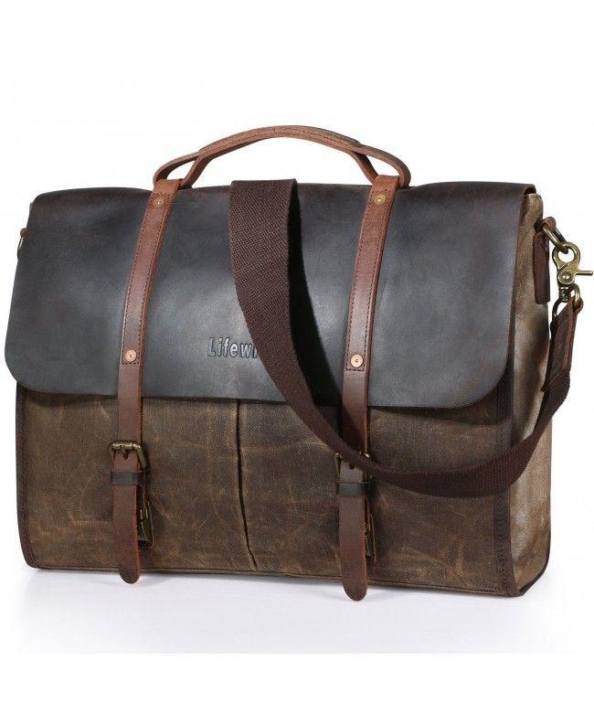 Men S Messenger Bag Waterproof Leather Waxed Canvas Laptop