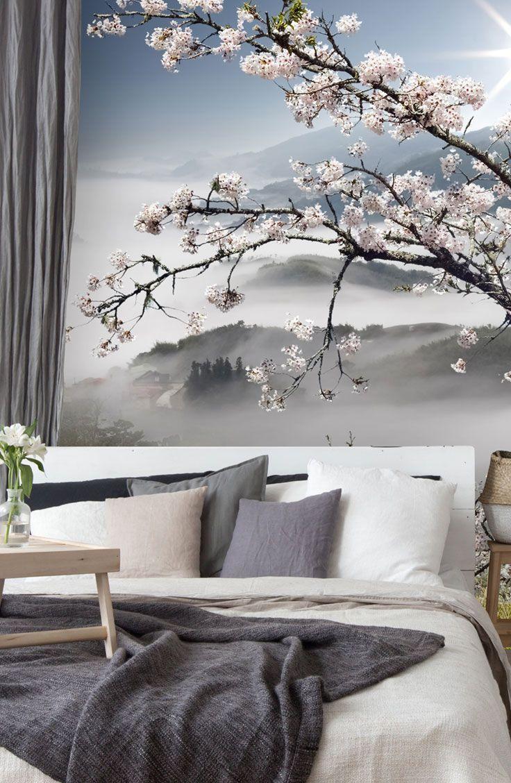 Japanese Walkway Wallpaper Wallsauce Us In 2020 Feature Wall Bedroom Wallpaper Bedroom Feature Wall Floral Bedroom
