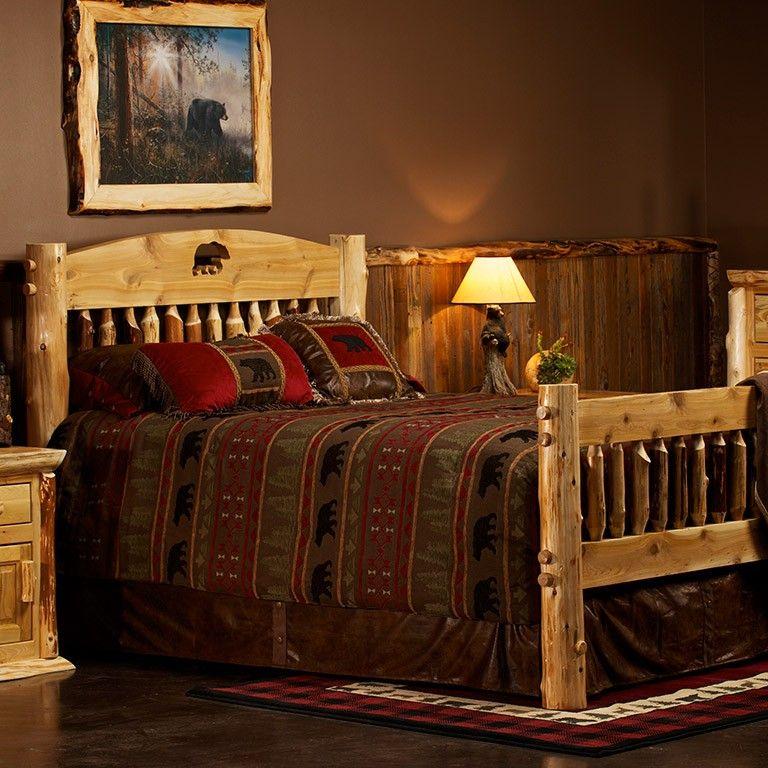 Cedar Lake Silhouette Cutout Log Bed Log bed, Rustic