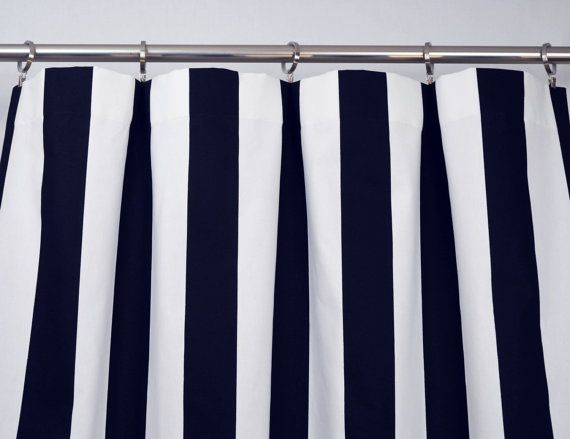 Navy Blue White Modern Vertical Stripe Curtains Rod Pocket