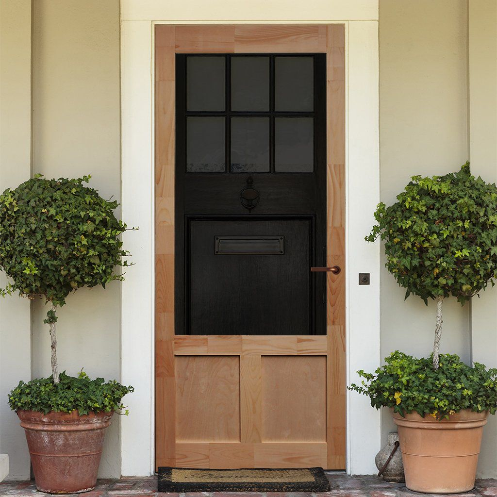 Screen Storm Door Wood Elmwood Brick Exterior House Wood Doors Interior Front Door Planters