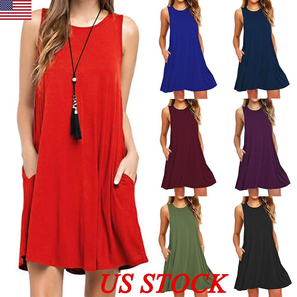 Us plus size womens summer sleeveless swing dress csual skater