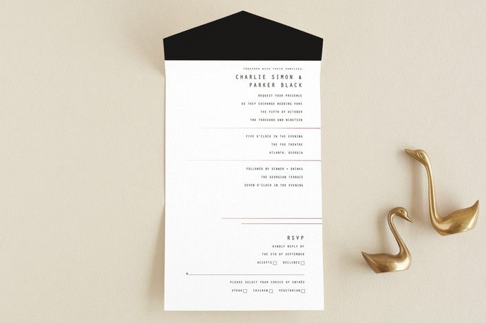 """BOLD AS LOVE"" - Modern All-in-one Wedding Invitations in Noir by DESIGN X FIVE."
