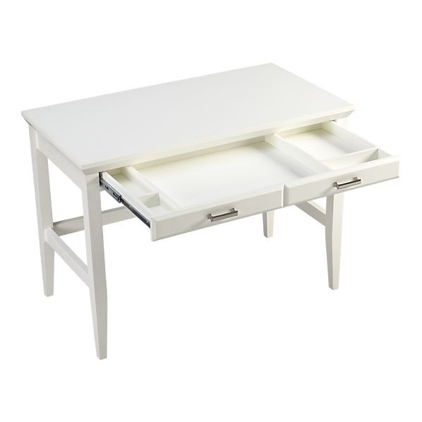 Paterson White Desk From Crate And Barrel Modern Home Office Desk Desk Home Office Desks