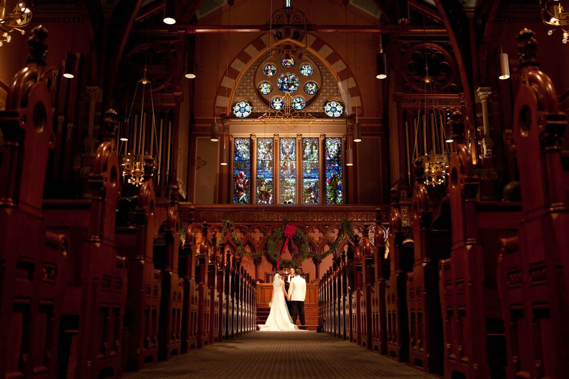Wedding ceremony at Old South Church, Boston, MA