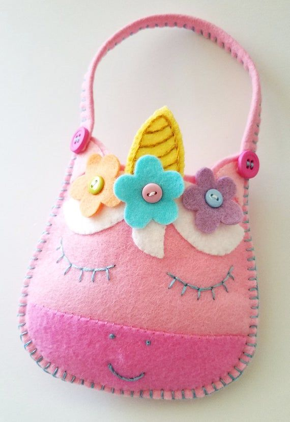 Felt Toy Unicorn Sewing Pattern - Pouch - Bag - Purse - PDF ePATTERN - e pattern Tutorial #felttoys