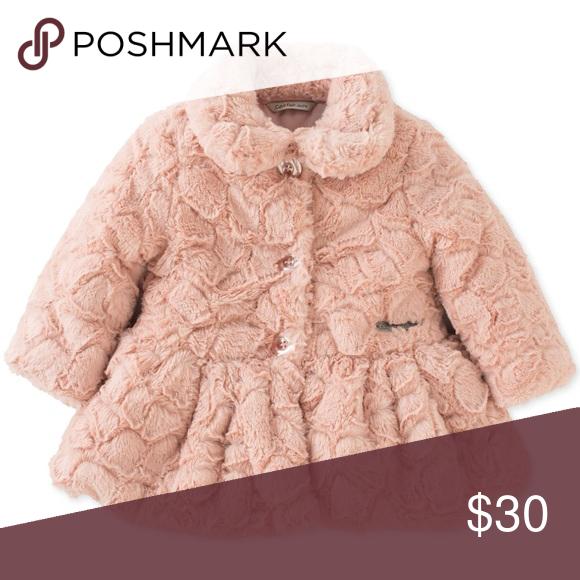 Calvin Klein Baby Girls Crackled Faux Fur Coat Nwt Clothes Design Faux Fur Coat Calvin Klein Baby
