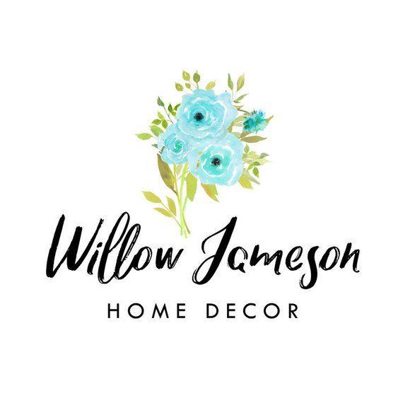 Flowers Logo Blue Watercolor Logos Blog Calligraphy Home Decor Bu