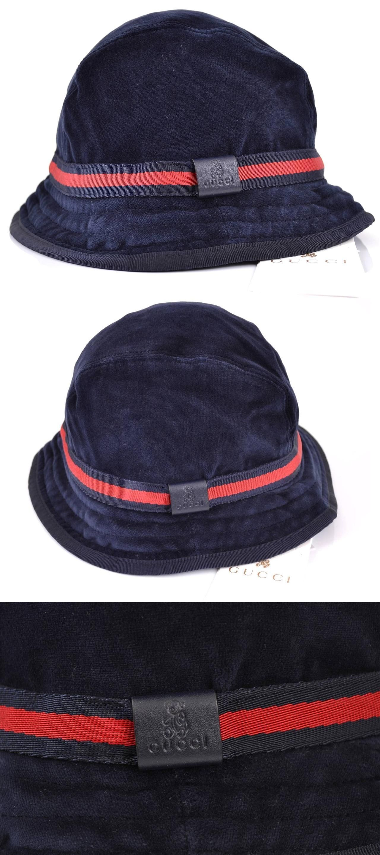 2df19553 Hats 163224: Nwt New Gucci Baby Girls Boys Navy Blue Velvet Red Web Fedora Bucket  Hat L -> BUY IT NOW ONLY: $79 on eBay!