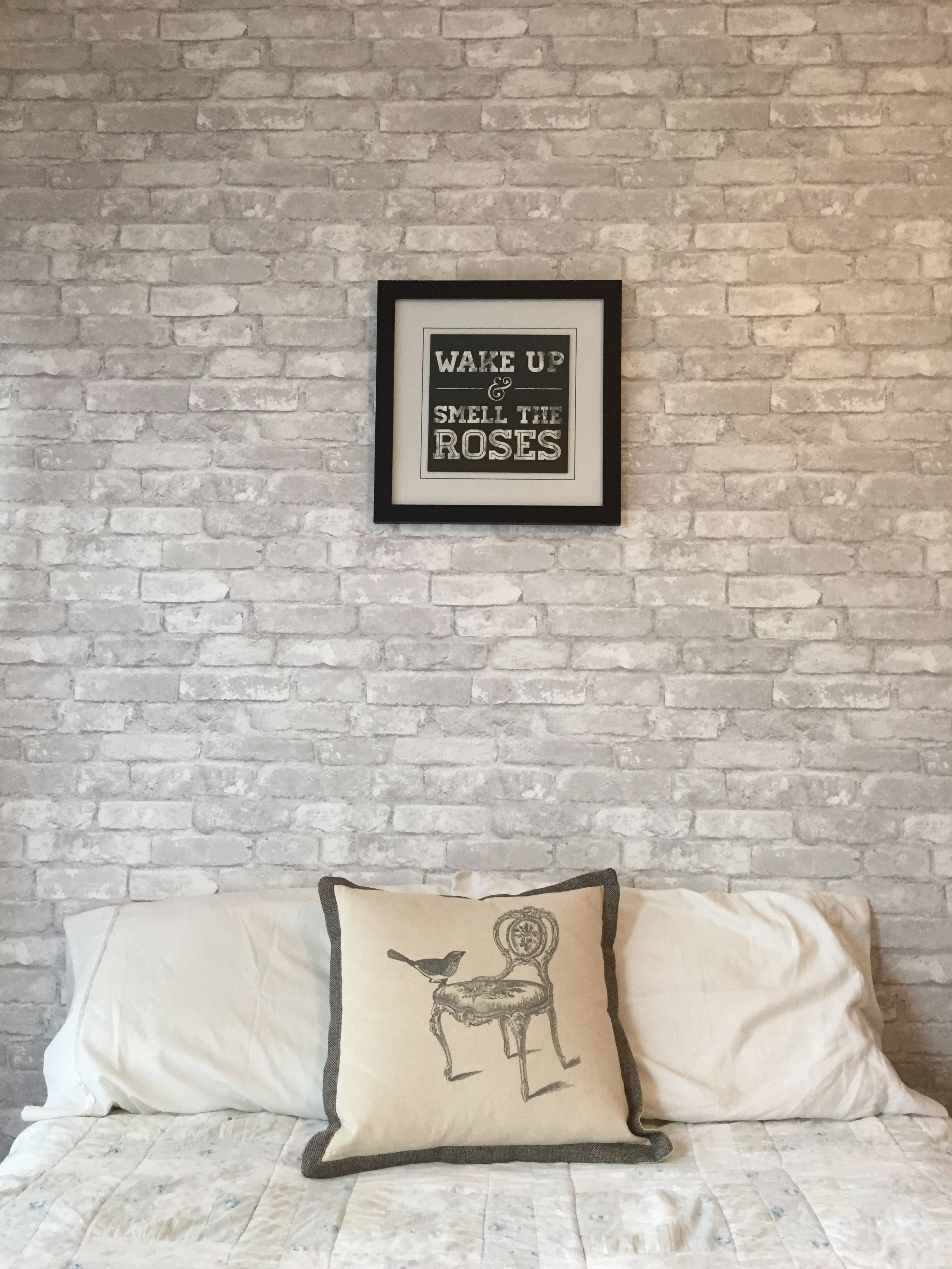 Loving this feature wall made with white brick removable for Black brick wallpaper bedroom
