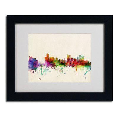 "Trademark Art ""Winnipeg, Canada"" by Michael Tompsett Matted Framed Graphic Art Size: 11"" H x 14"" W x 0.5"" D, Frame Color: Black"