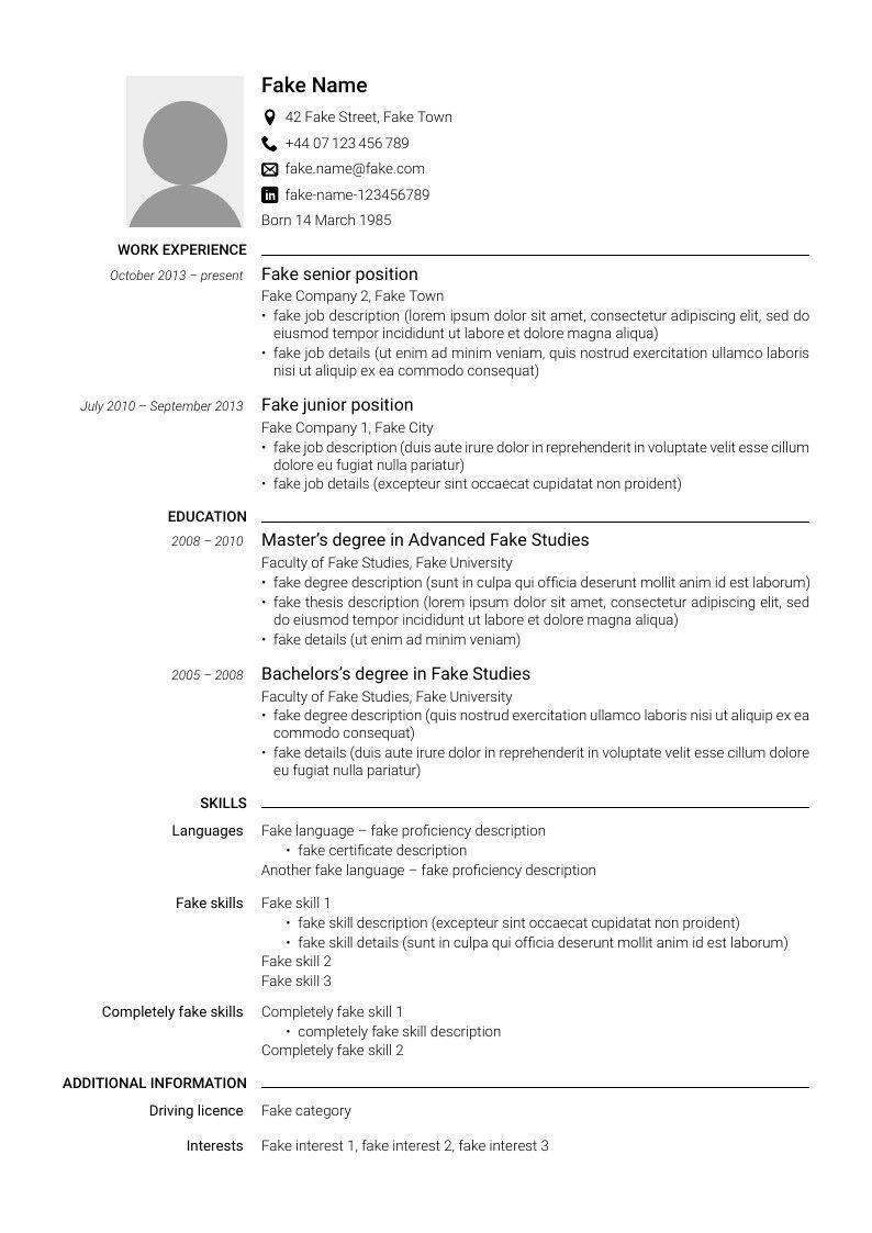 1 5 Column Cv Column Work Experience Cv Template