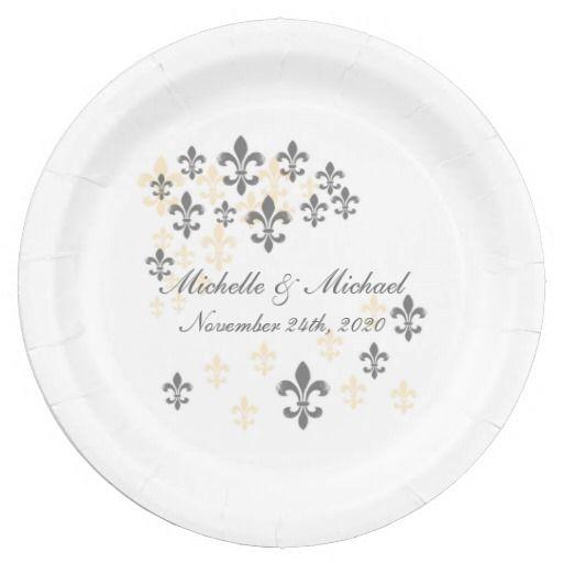 Fleur de Lis Cascade (grey yellow) Personalzed Paper Plates #fleurdelis #neworleans #  sc 1 st  Pinterest & Fleur de Lis Cascade (grey yellow) Personalzed Paper Plates ...