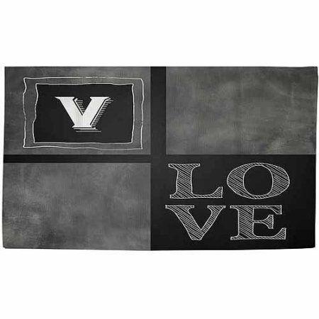 Thumbprintz Chalkboard Monogram Grey Rug