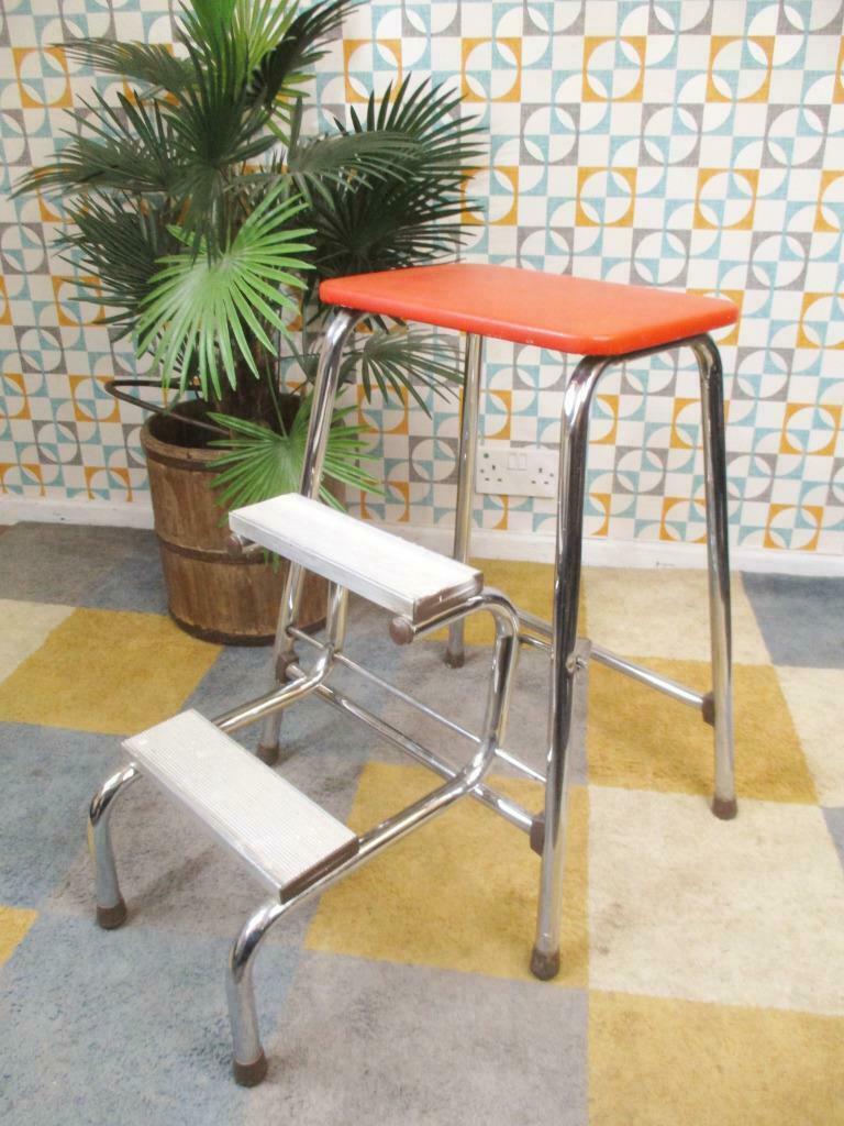 Groovy Vintage 70S Brabantia Folding Step Stool Chrome Orange Bralicious Painted Fabric Chair Ideas Braliciousco
