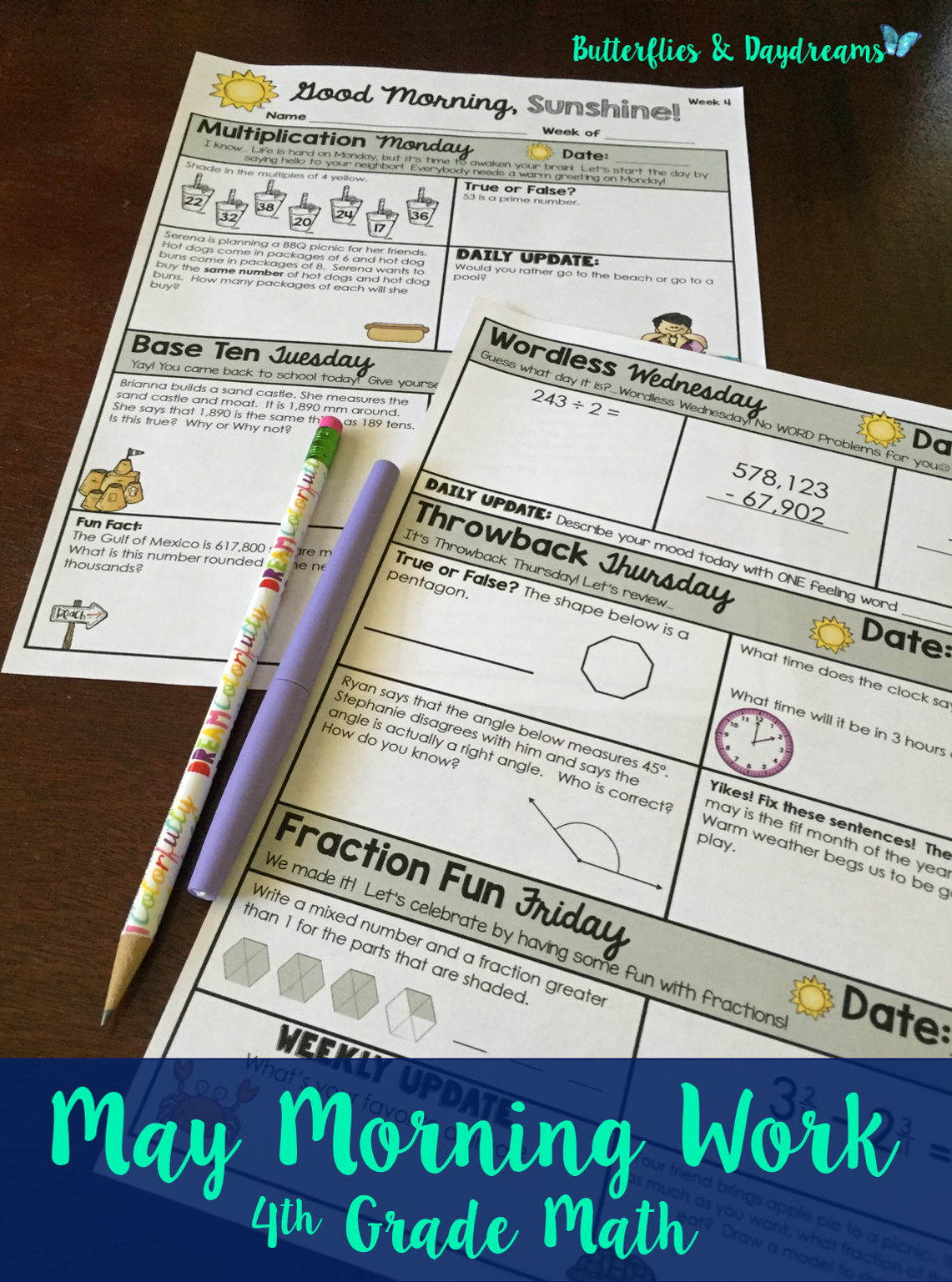 Math Morning Work 4th Grade {May} | TpT Math Lessons | Pinterest ...