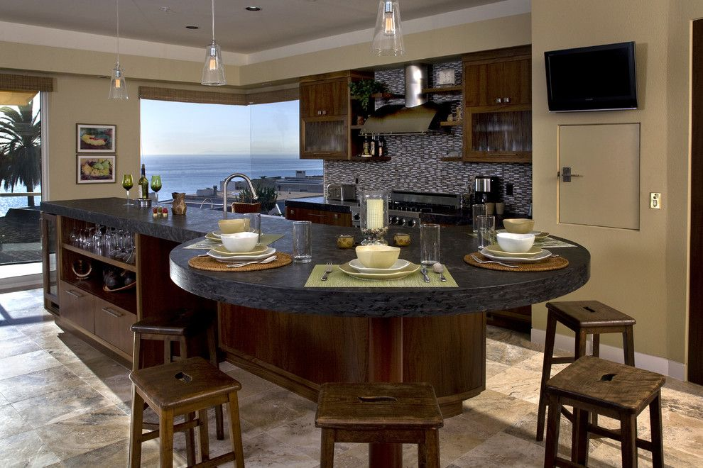 Love The Circular Table Like Design Of This Counter Kitchen Island Dining Table Kitchen Island Remodel Ideas Granite Dining Table