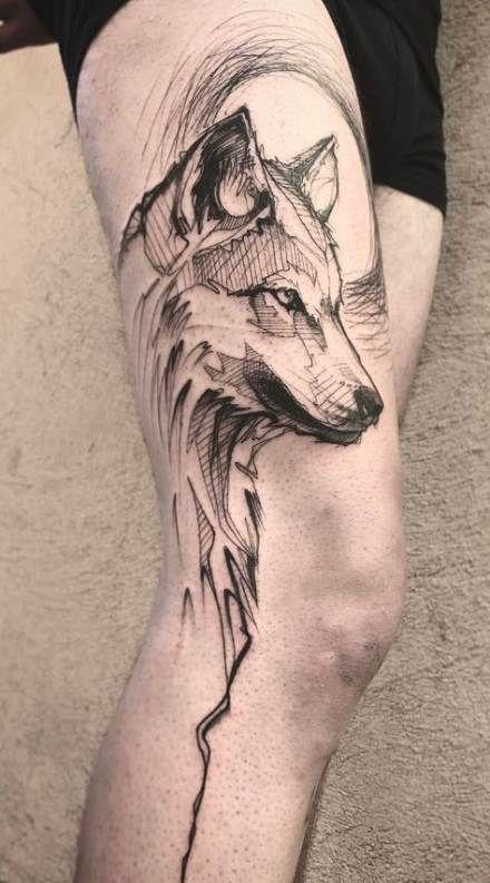 Tattoo Wolf Sketch Thighs 40+ Ideas