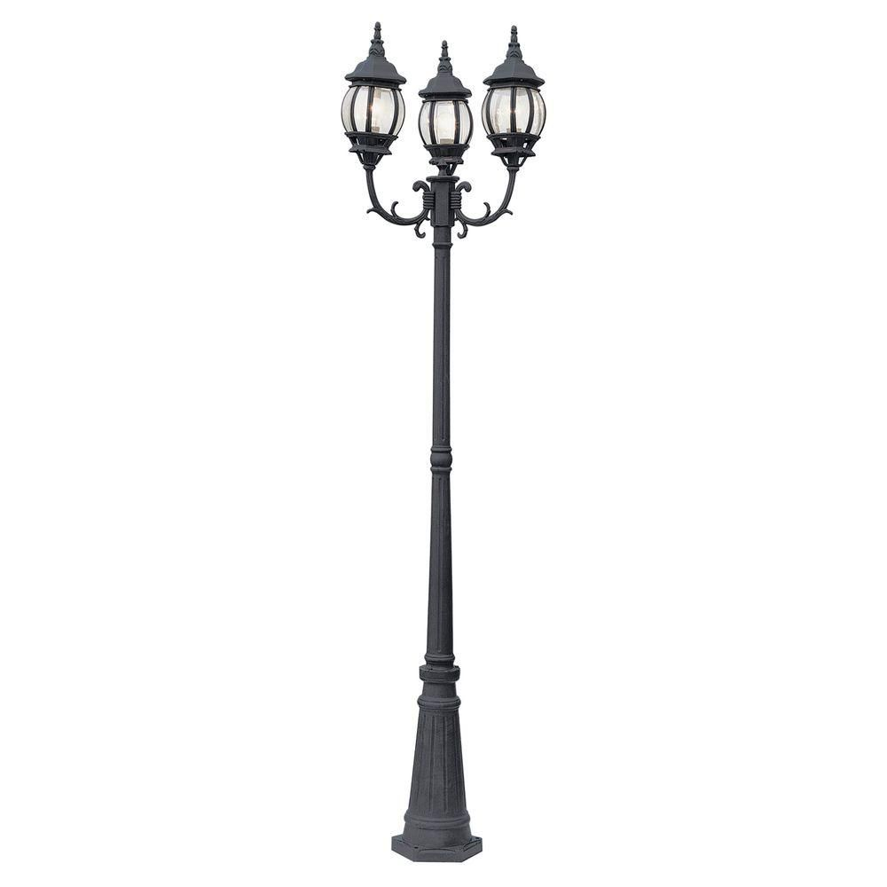 Bel Air Lighting Parkway 3 Light 7 6 Ft Black Outdoor Lamp Post Light Set With Clear Glass 4090 Bk The Home Depot Lamp Post Lights Outdoor Lamp Posts Lamp Post