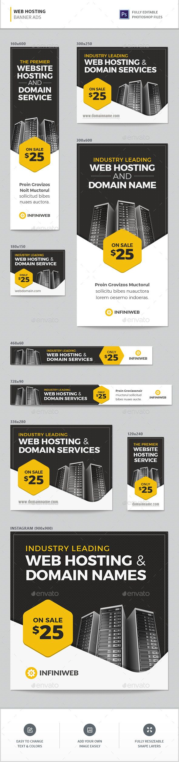 Web Hosting Banners   Banner template, Company banner and Banners