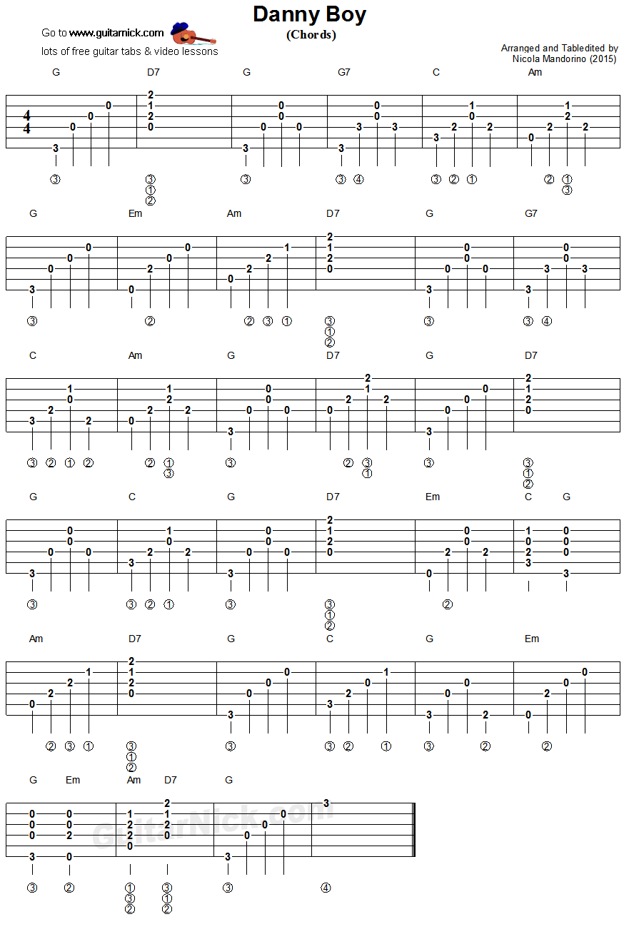 Danny Boy Guitar Chords Tablature Songs Pinterest Tablature