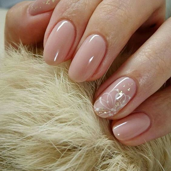 Delicate Accent Flower Cute Simple Nails Nail Art Wedding Simple Nail Designs