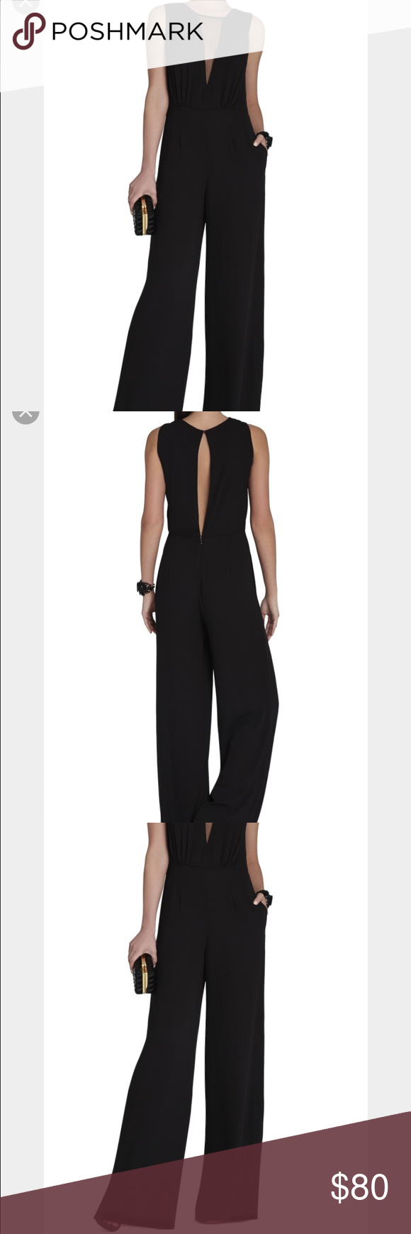BCBG MaxAzaria black jumpsuit XS Behati sleeveless v neck jumpsuit. Worn only once, loved the sexy and sophisticated look. Excellent condition. Available on BCBG website original $248.00 now on sale for $124.00 BCBGMaxAzria Other
