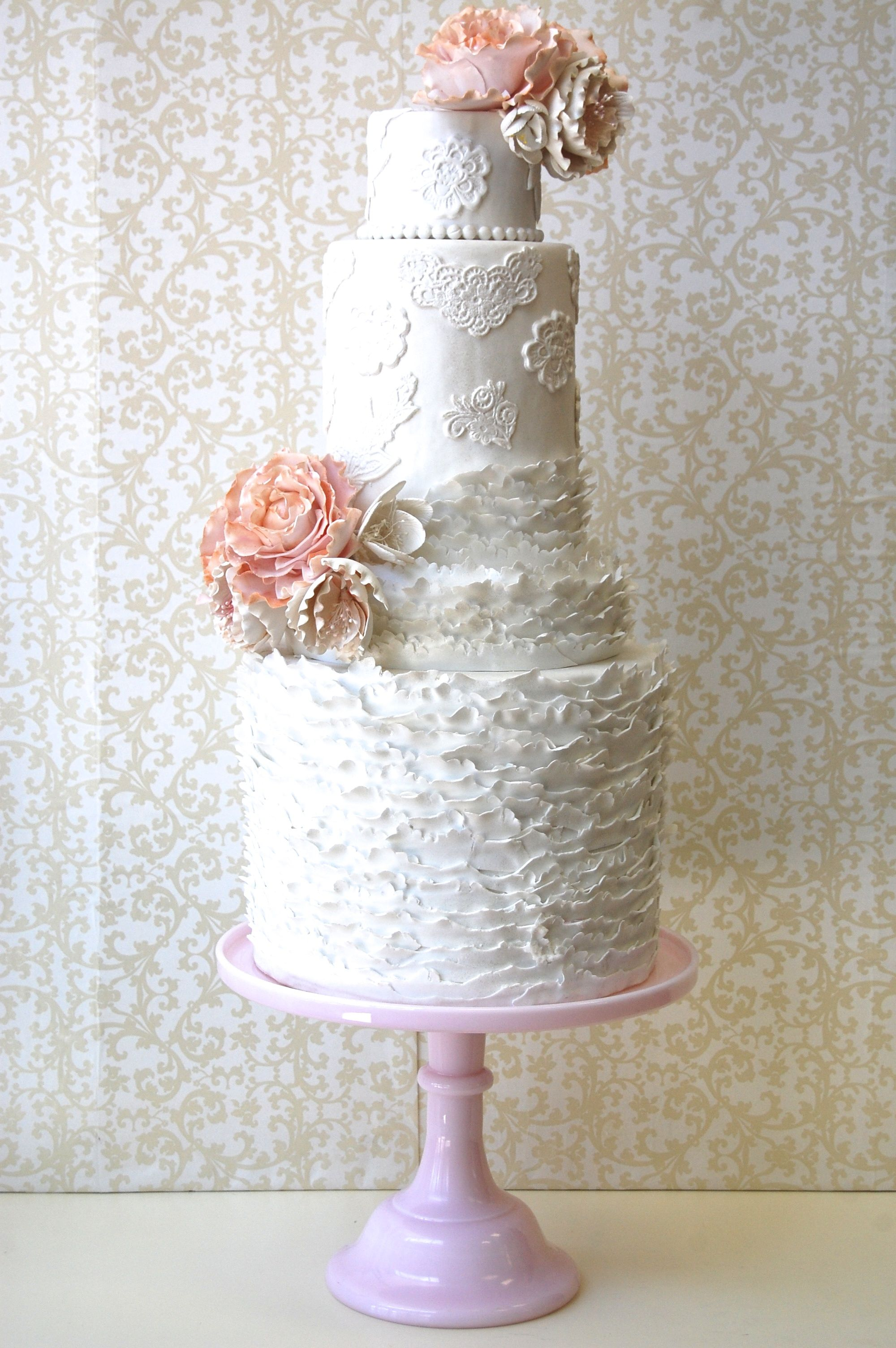 Ruffle Pink Flowers Wedding Cake Cakes Of All Kinds For Every