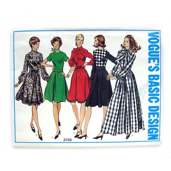 1970s Vogue Basic Design 2733 Jewel Neckline Dress by SelvedgeShop