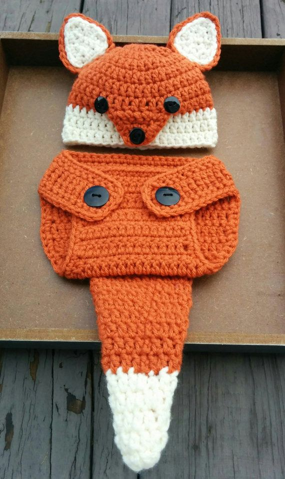 Newborn Crochet Fox Outfit PATTERN (0-3 Months) Fox Hat and Diaper Cover. Newborn  photo props. Woodland Creatures. Would be cute to add a bow for a baby ... 09727ac59d52