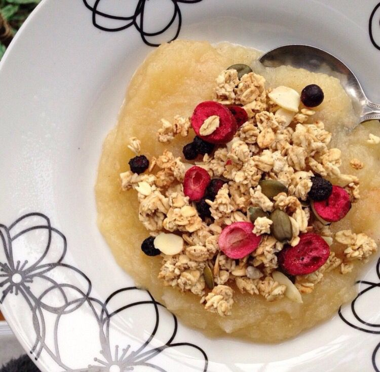 Homemade Puréed Apple with Cinnamon topped with Berry Granola