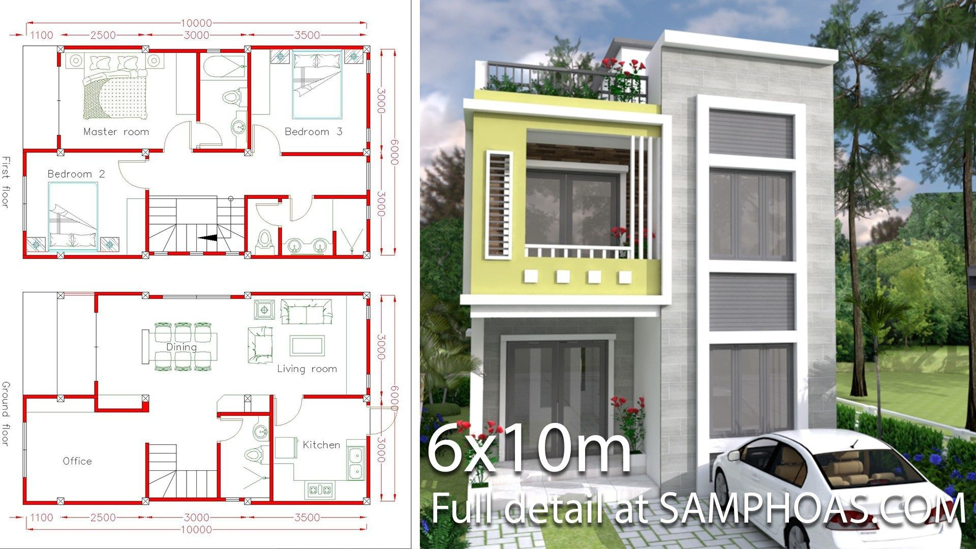 Home Design Plan 6x10m With 3 Bedrooms Samphoas Com Home Design Plan House Plans House Design