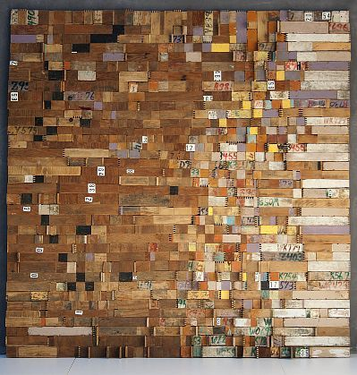 i like this. Daily Time Slices for MF, 2010, by Laurie Frick. Part of the solo exhibit Sleep Patterns at Edward Cella Art + Architecture in Los Angeles. (Image courtesy of Edward Cella; via the Los Angeles Times.)