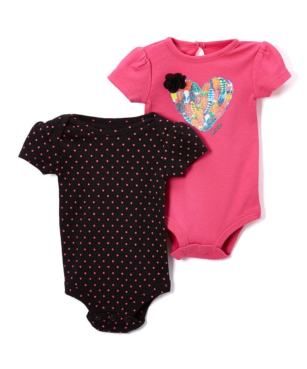 Pink & Black Feather Heart Bodysuit Set - Infant