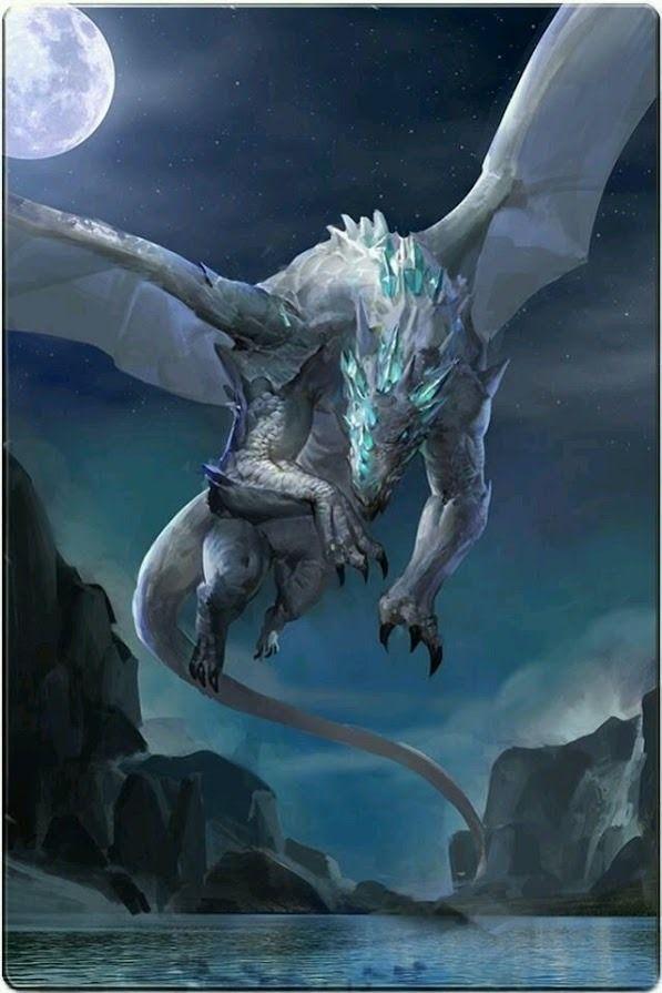 月明かりの元飛ぶかっこいいドラゴンの壁紙