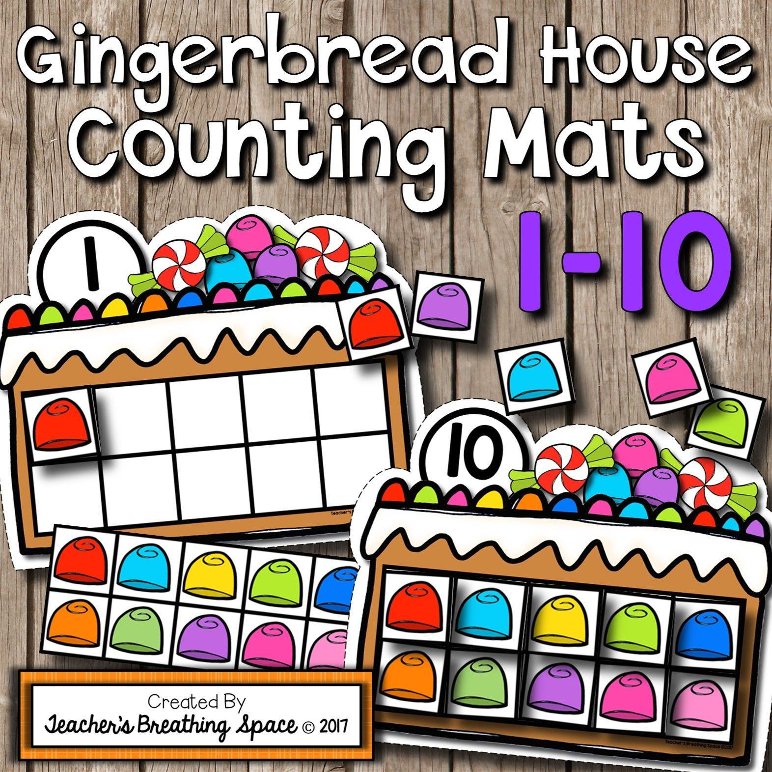 Christmas Counting Mats 1 10 Gingerbread House Counting