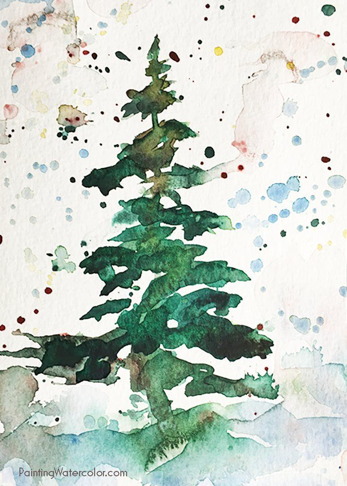 Christmas card tree watercolor painting tutorial art Christmas card scenes to paint