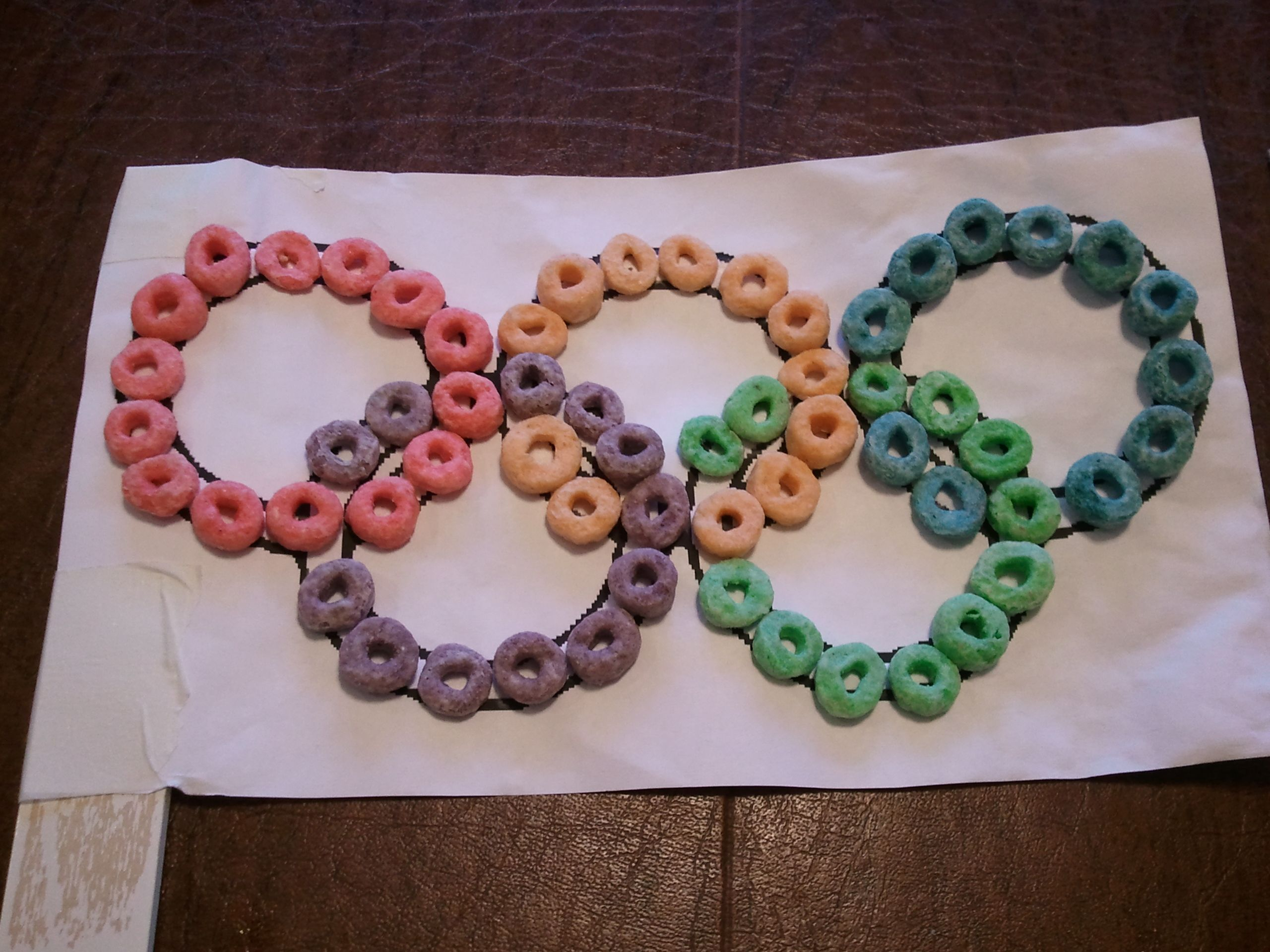 Olympic Rings Craft With Fruit Loops