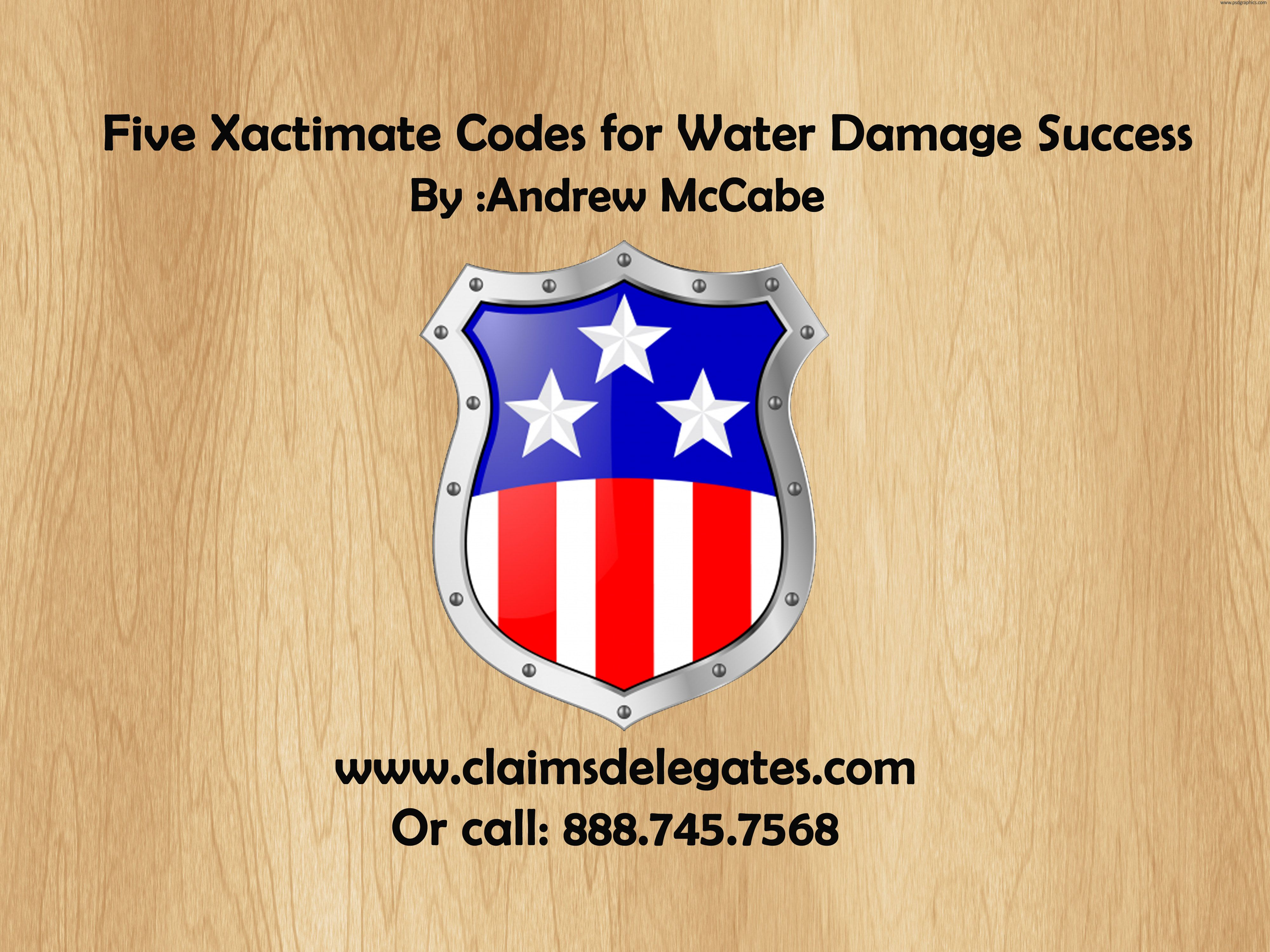 Five Xactimate Codes for Water Damage Success  Here are five