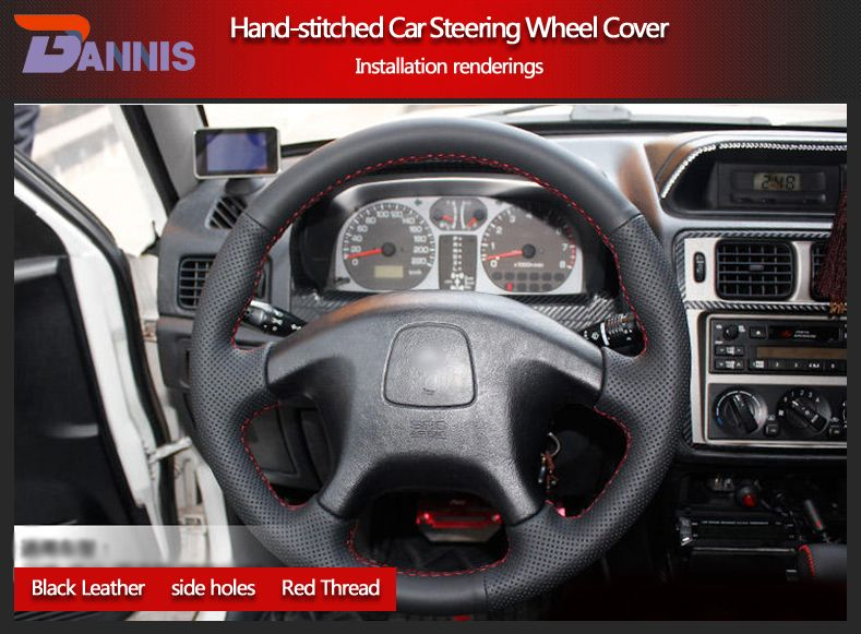 Bannis Black Artificial Leather Diy Hand Stitched Steering Wheel Cover For Mitsubishi Outlander 2013 2014 Mirag Steering Wheel Cover Steering Wheel Wheel Cover