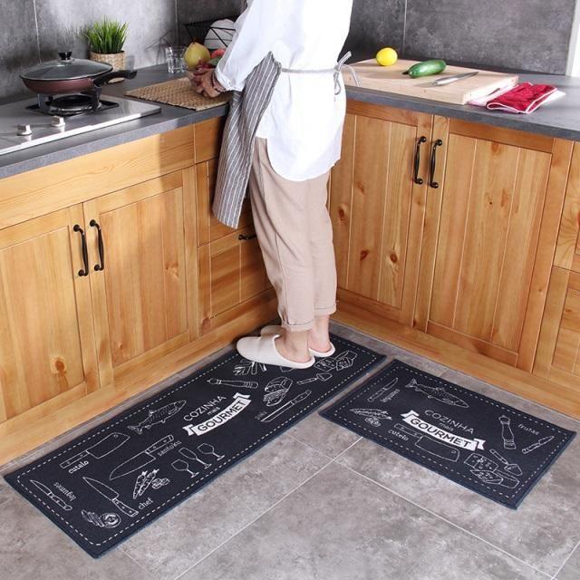 2 Pcs Kitchen Mat Anti-slip Japan Style Cartoon Rubber Backing ...