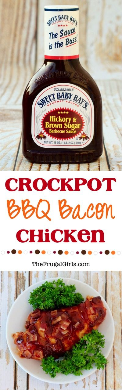 Crockpot BBQ Bacon Chicken Recipe!  This EASY 4 ingredient Crock Pot dinner is the perfect addition to your busy weeknight schedule and will have your family begging for seconds! #ad http://thefrugalgirls.com/2016/03/crockpot-bbq-bacon-chicken.html