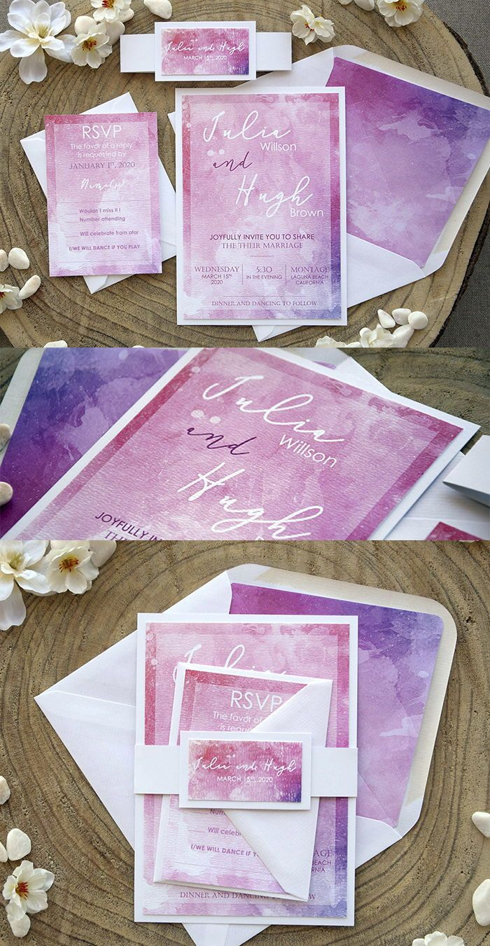 Pink Watercolor Wedding Invitations Paperstudiobyc In 2019