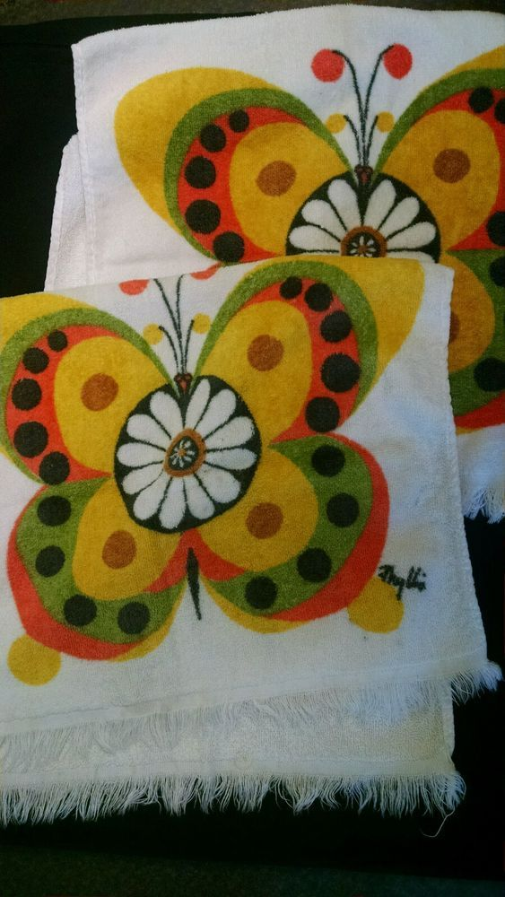 2 Vintage Hand Kitchen Towels 1970's Butterfly Terry Cloth